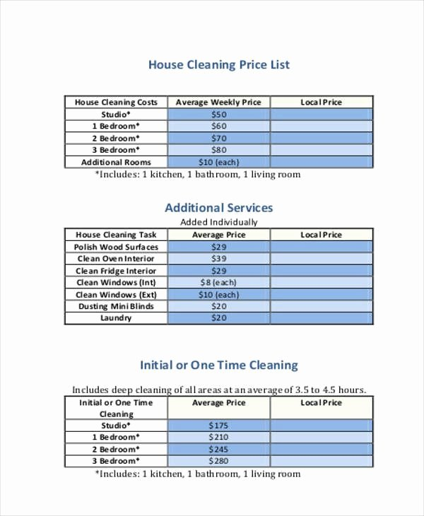 Cleaning Services Price List Template Lovely House Cleaning Cost