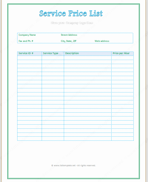 Cleaning Services Price List Template New Free Printable Price List Templates