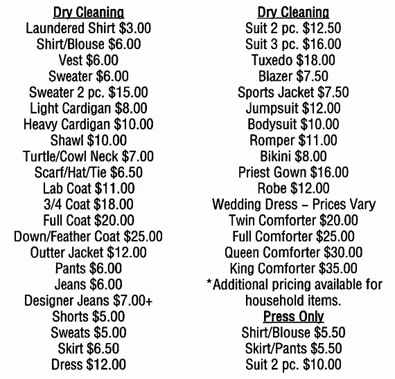 Cleaning Services Prices List Awesome Montclair Laundry Dry Cleaning Services 973 744 6900