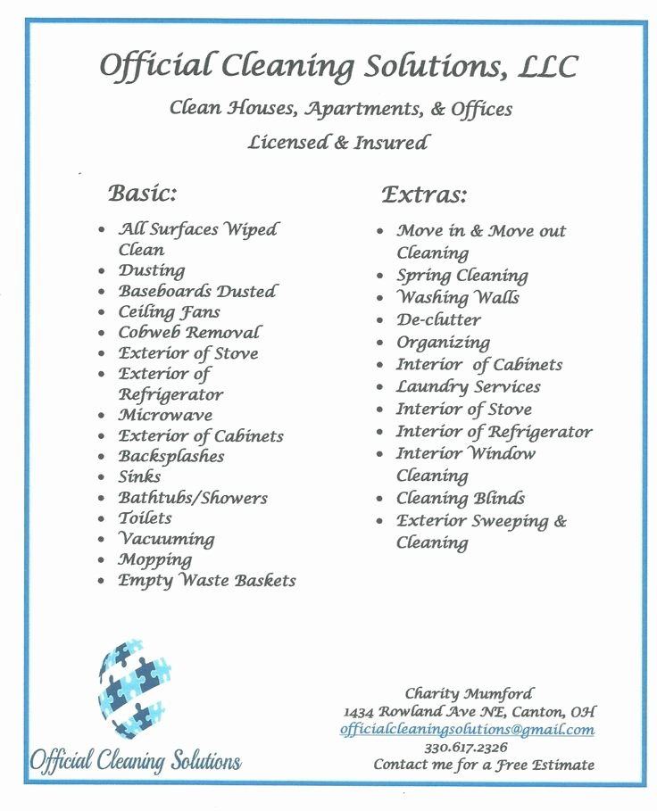 Cleaning Services Prices List Luxury Cleaning Services Cleaning Flyer