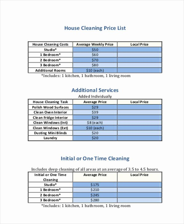 Cleaning Services Prices List New 19 Price List Samples In Pdf