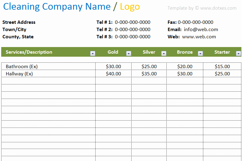 Cleaning Services Prices List New Cleaning Price List Template In Excel Dotxes
