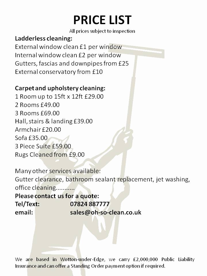 Cleaning Services Prices List New Oh so Clean