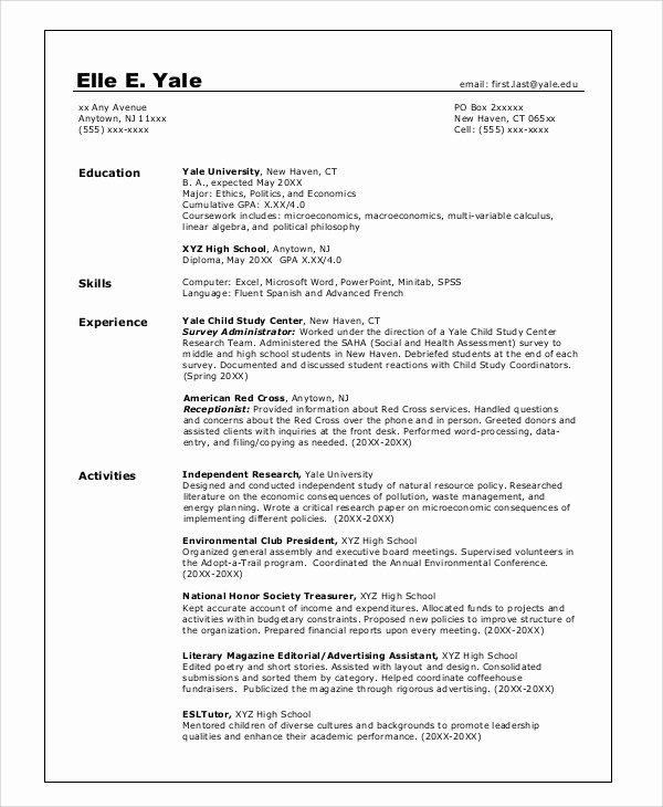 College Graduate Resume Template Best Of 8 Sample College Resumes Pdf Doc