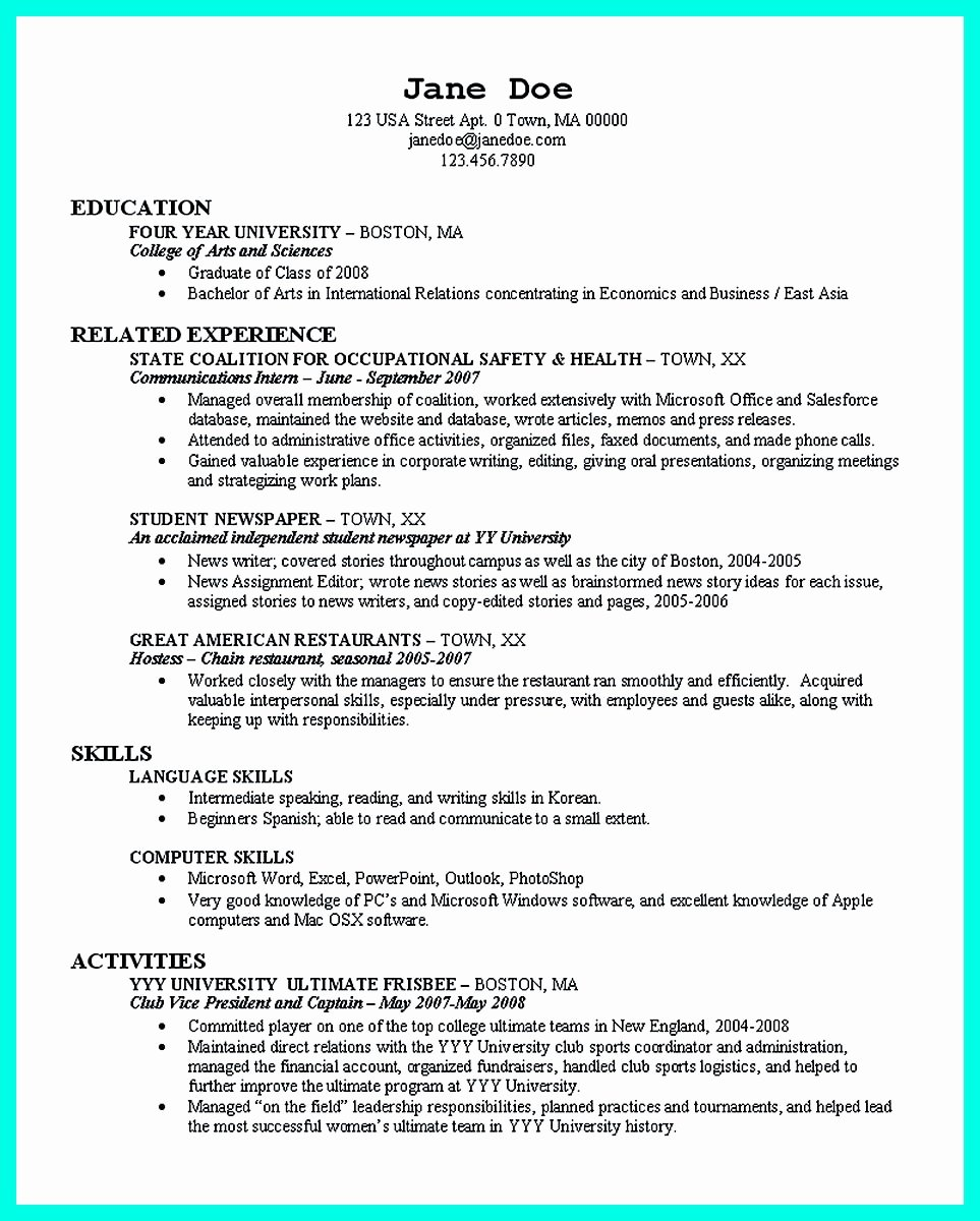 College Graduate Resume Template Best Of the Perfect College Resume Template to Get A Job