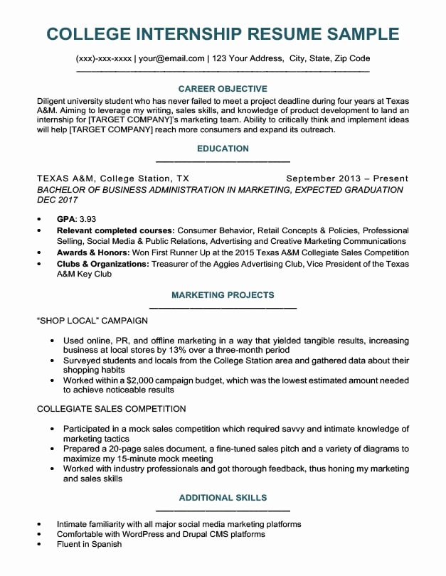 College Graduate Resume Template Elegant College Student Resume Sample & Writing Tips