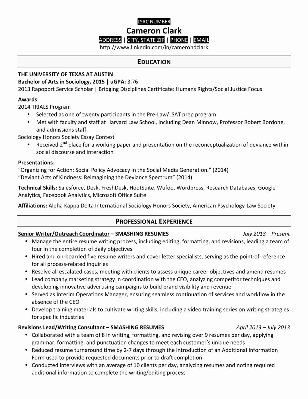 College Graduate Resume Template New A Law School Resume that Made the Cut