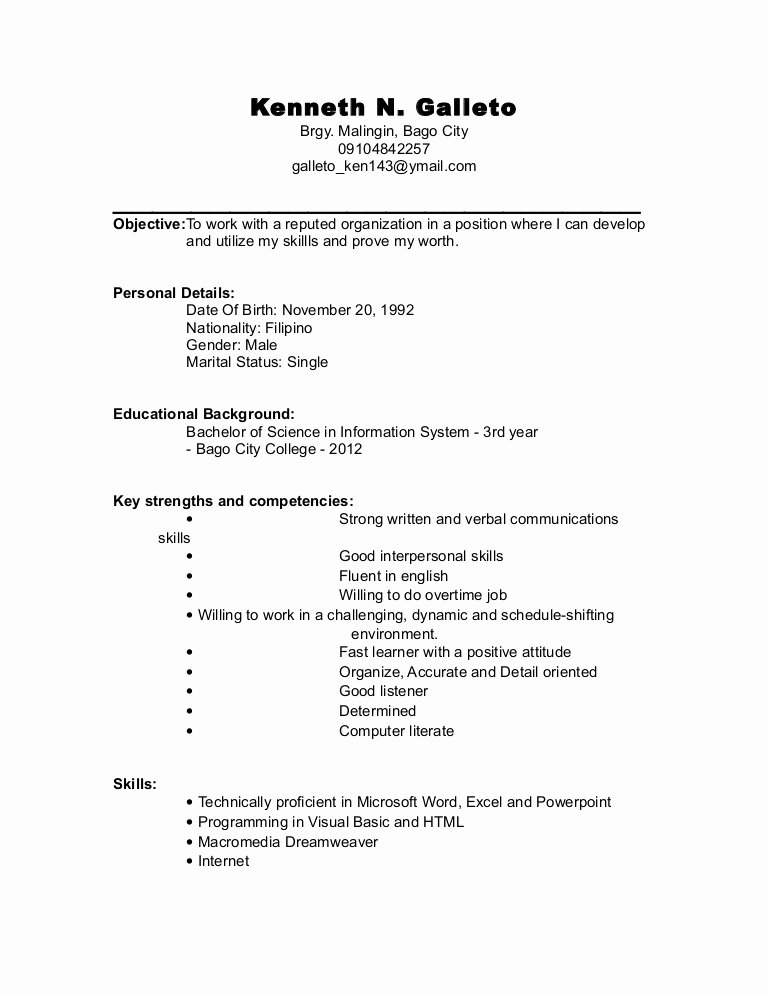 College Graduate Resume Template Unique Resume for College Undergraduate