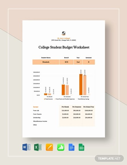 College Student Budget Template Fresh College Student Bud Sample 13 Examples In Word Pdf