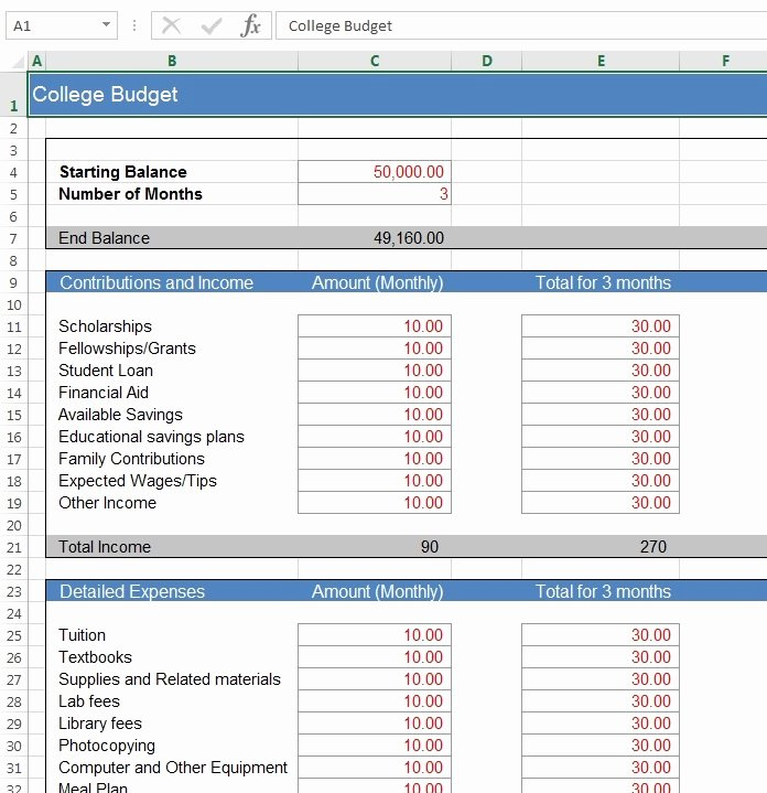 College Student Budget Template Fresh Download Free Excel Examples Downloadexceltemplate