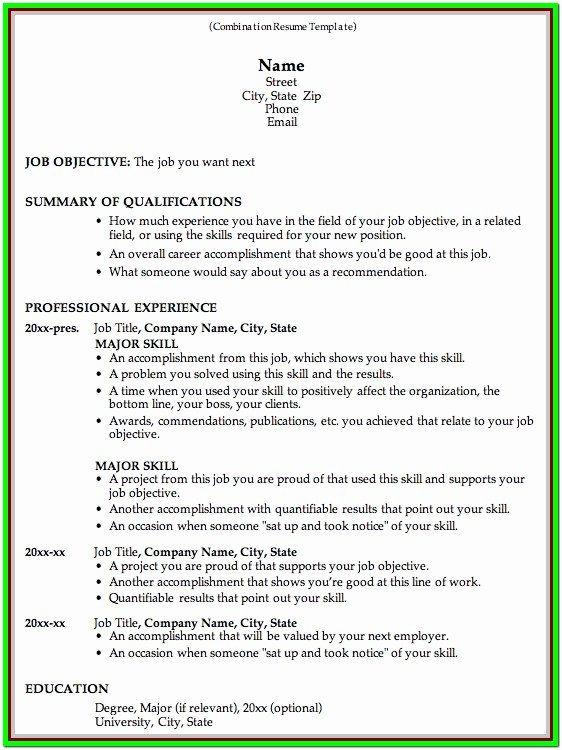 Combination Resume Template Word Awesome Resume Template Word E Page Resume Resume Examples
