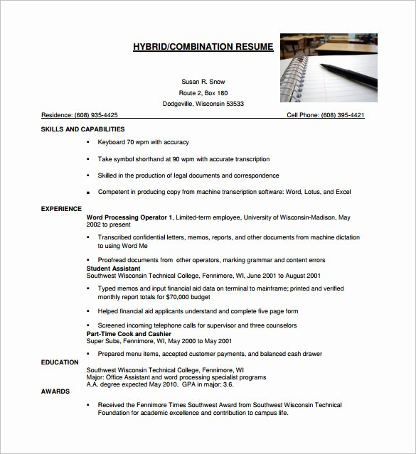 Combination Resume Template Word Elegant Bination Resume Template 9 Free Word Excel Pdf