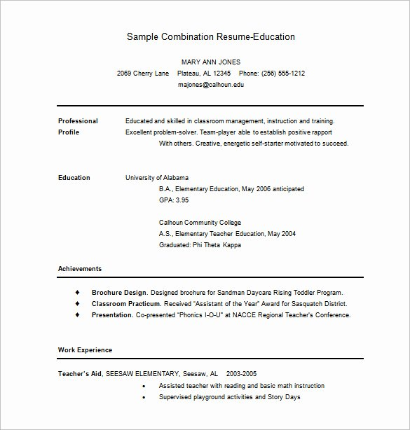 Combination Resume Template Word Inspirational Bination Resume Template 9 Free Word Excel Pdf