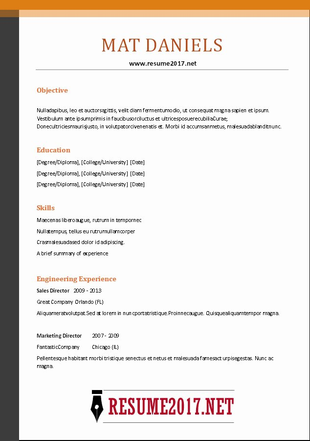 Combination Resume Template Word New Bination Resume format 2017