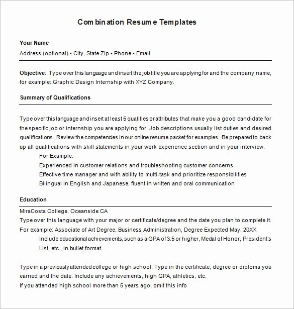 Combination Resume Template Word New Bination Resume Template