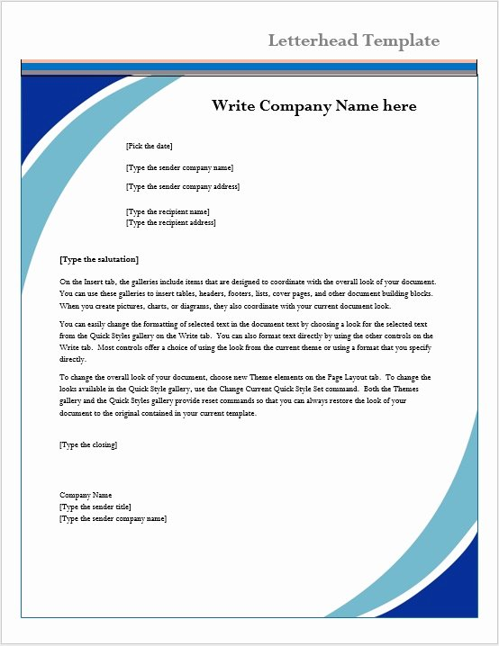 Company Letterhead Template Word Inspirational Letterhead Template – Microsoft Word Templates