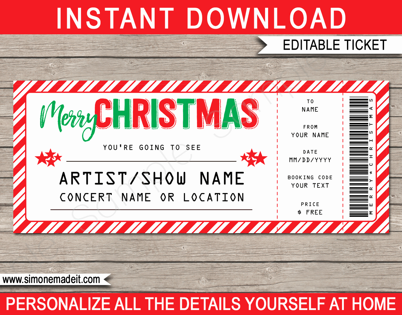 Concert Ticket Template Free Awesome Printable Christmas Gift Concert Ticket Template