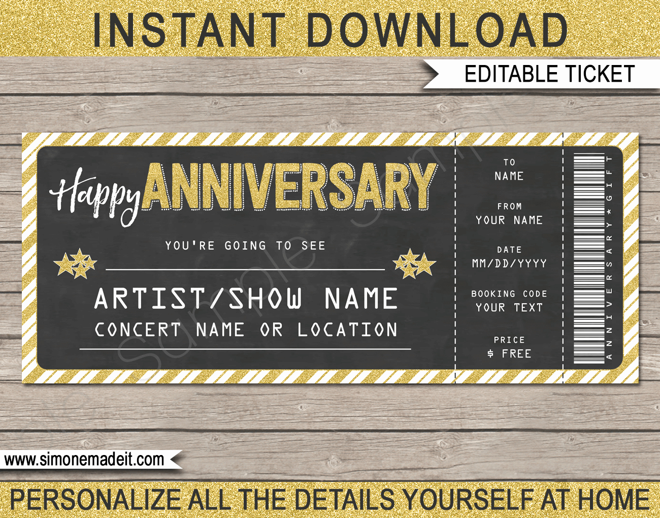 Concert Ticket Template Free Elegant Printable Anniversary Concert Ticket Gift Template