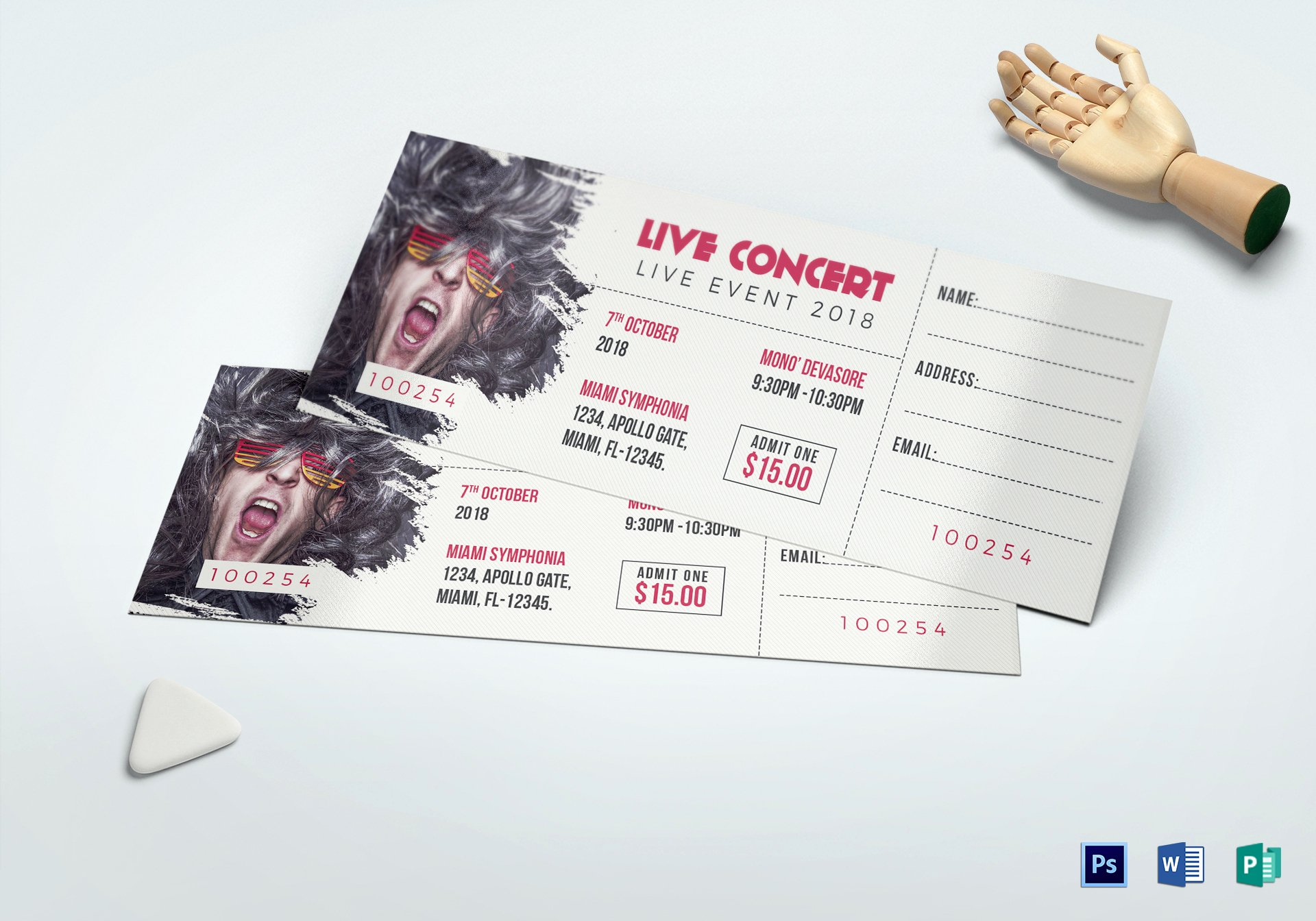 Concert Ticket Template Free Lovely Live Concert Ticket Design Template In Word Psd Pages