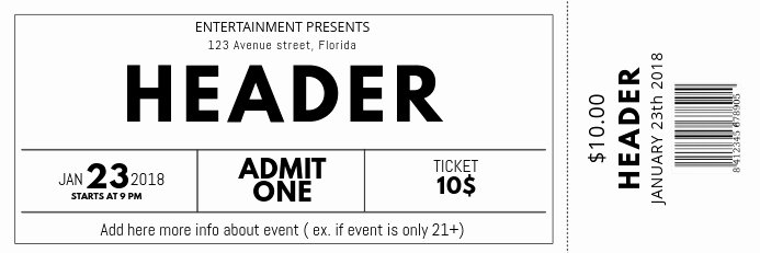 Concert Ticket Template Free New Black and White Free Concert event Ticket Template