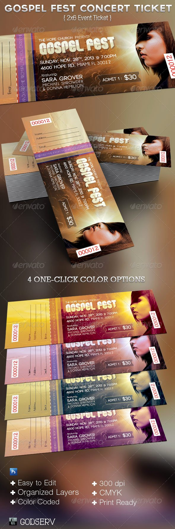 Concert Ticket Template Free New Gospel Fest Concert Ticket Template On Behance