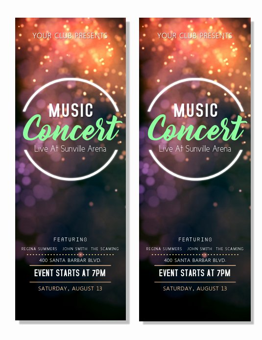 Concert Ticket Template Free Unique Music Concert Tickets Template