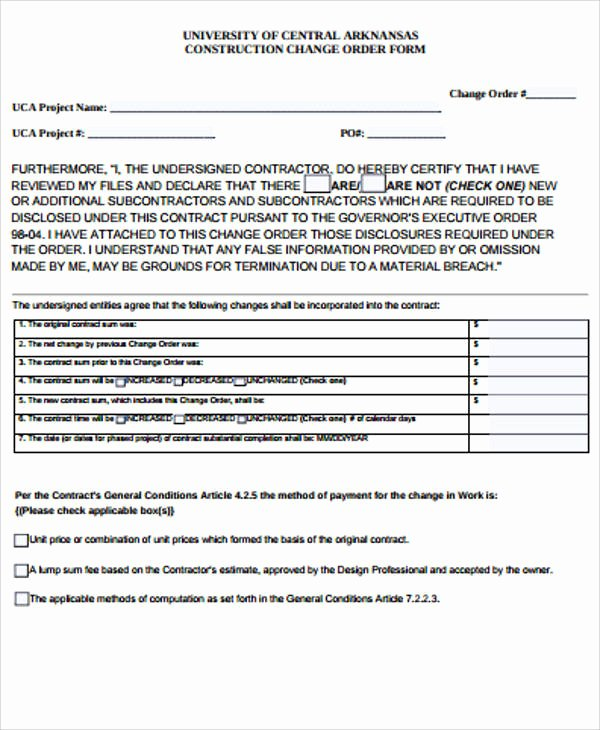 Construction Change order form Awesome Sample Construction Change order form 7 Examples In