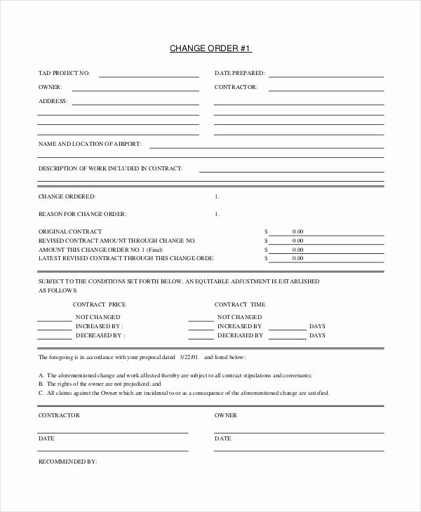 Construction Change order form Beautiful 24 Change order Templates Word Pdf Google Docs