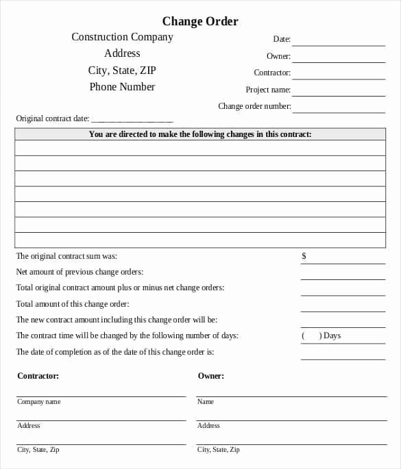 Construction Change order form Beautiful Change order Template 225 Useful Templates