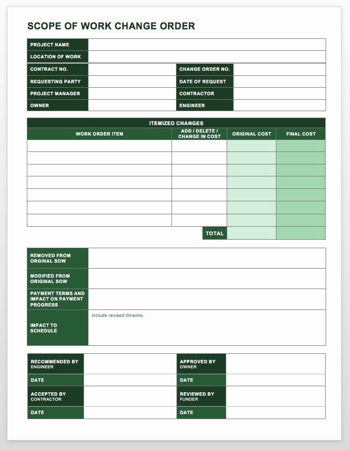 Construction Change order form Beautiful Plete Collection Of Free Change order forms