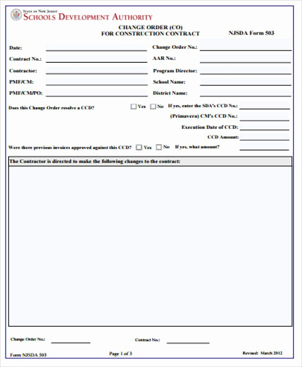 Construction Change order form Beautiful Sample Construction Change order form 7 Examples In
