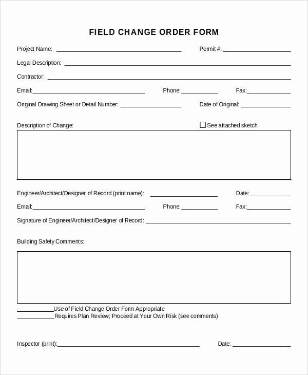 Construction Change order form Inspirational Sample Change order form 12 Examples In Word Pdf