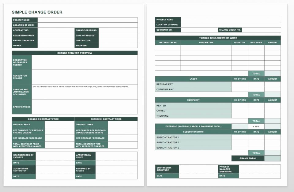 Construction Change order form Lovely Plete Collection Of Free Change order forms