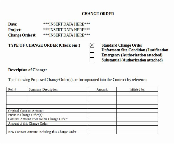 Construction Change order form New 24 Change order Templates Word Pdf Google Docs
