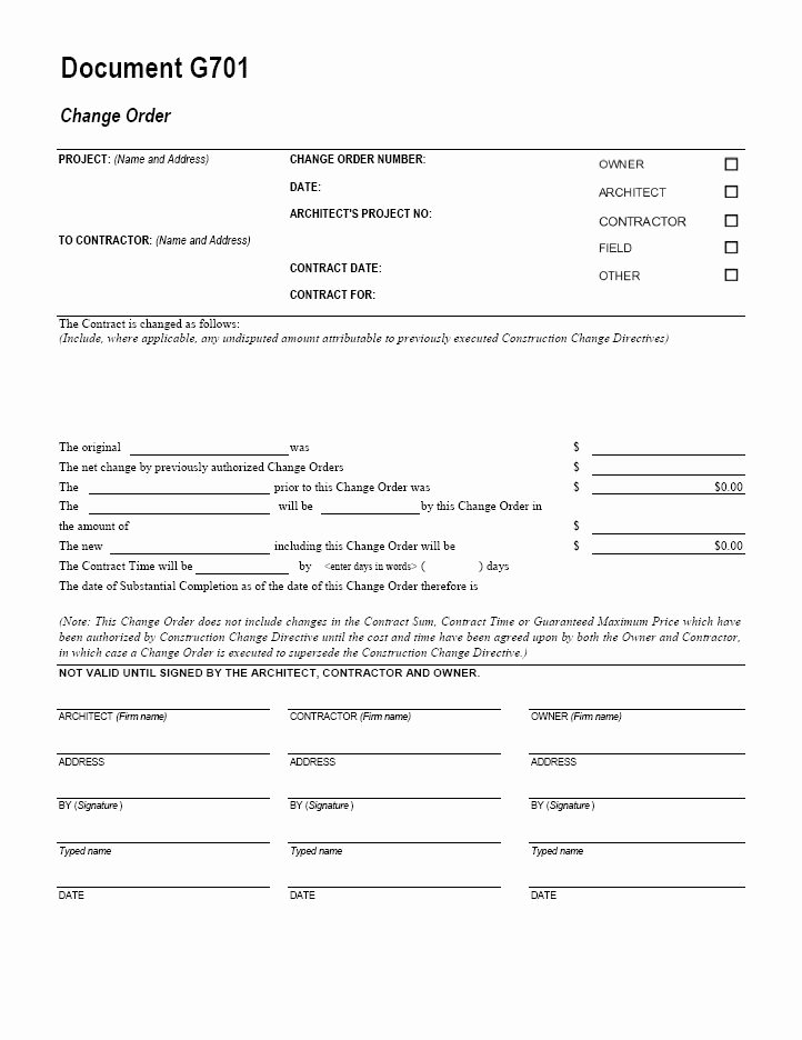 Construction Change order form New G701 Change order Cms