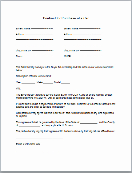 Contract for Selling A Car Beautiful Car Purchase Contract Template