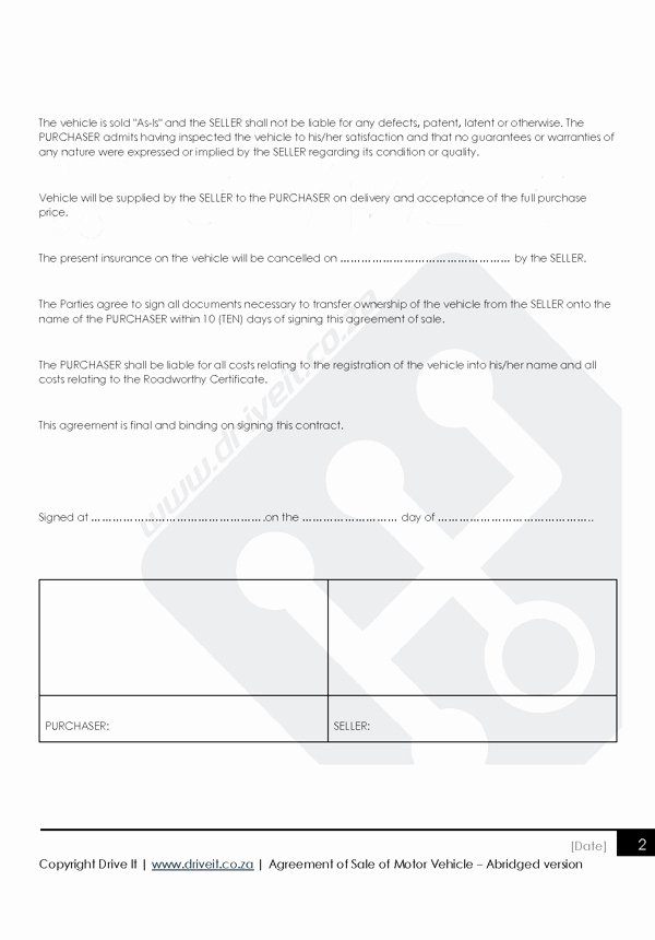 Contract for Selling A Car Beautiful Contract 2 Agreement to Sell Car Abridged Version