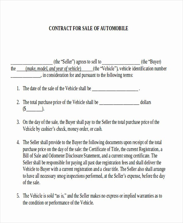 Contract for Selling A Car Beautiful Sample Automobile Sales Contracts 9 Examples In Word Pdf