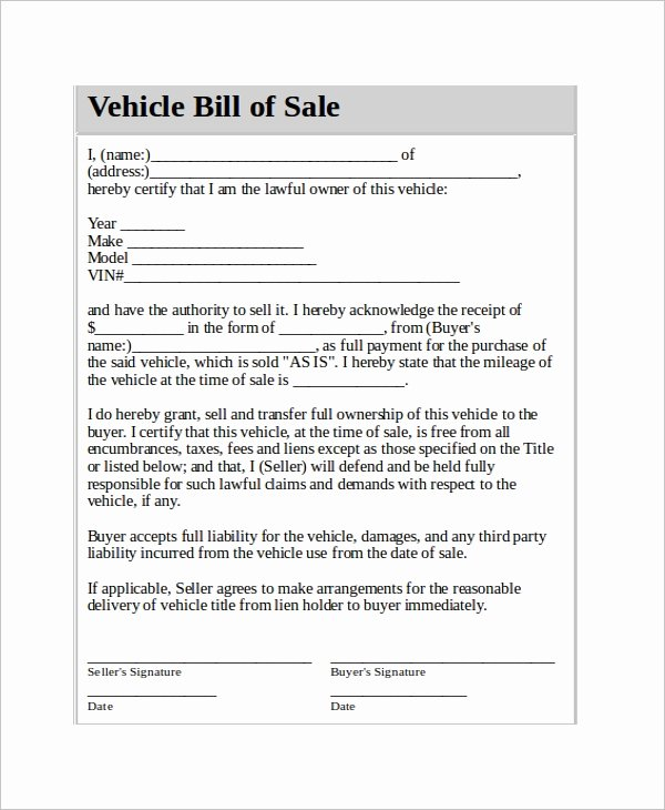 Contract for Selling A Car Beautiful Vehicle Bill Of Sale Template 14 Free Word Pdf