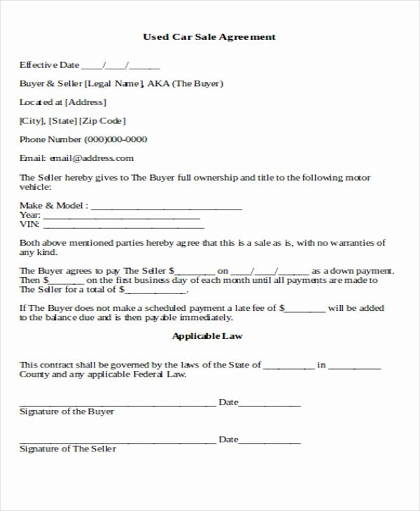 Contract for Selling A Car Best Of Sample Used Car Sale Contract 7 Examples In Word Pdf