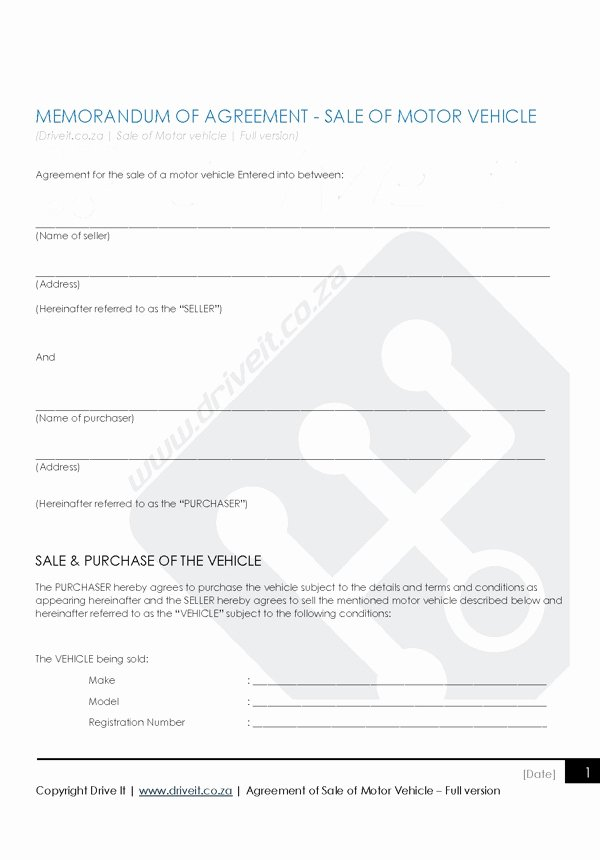 Contract for Selling A Car Fresh Contract 1 Agreement to Sell Car Full Version