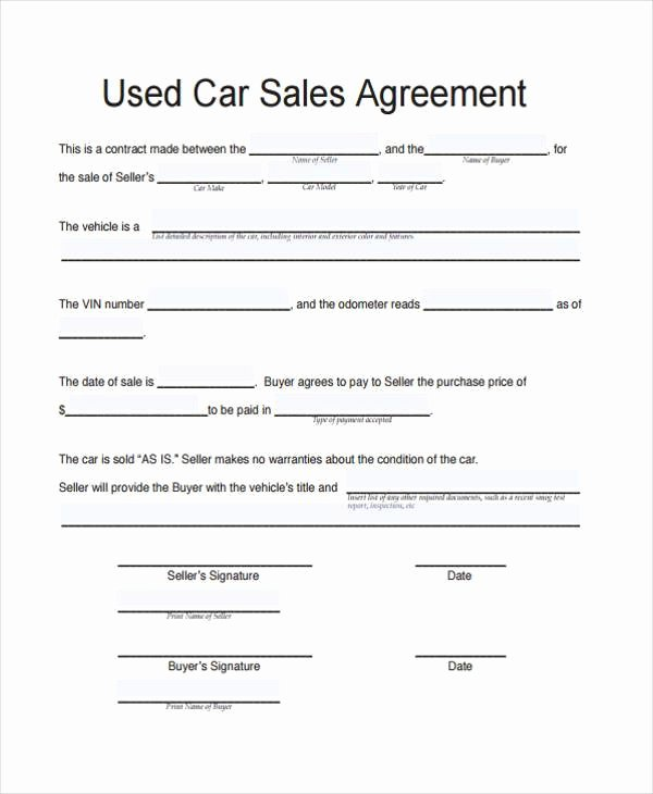 Contract for Selling A Car Inspirational Free 41 Contract forms