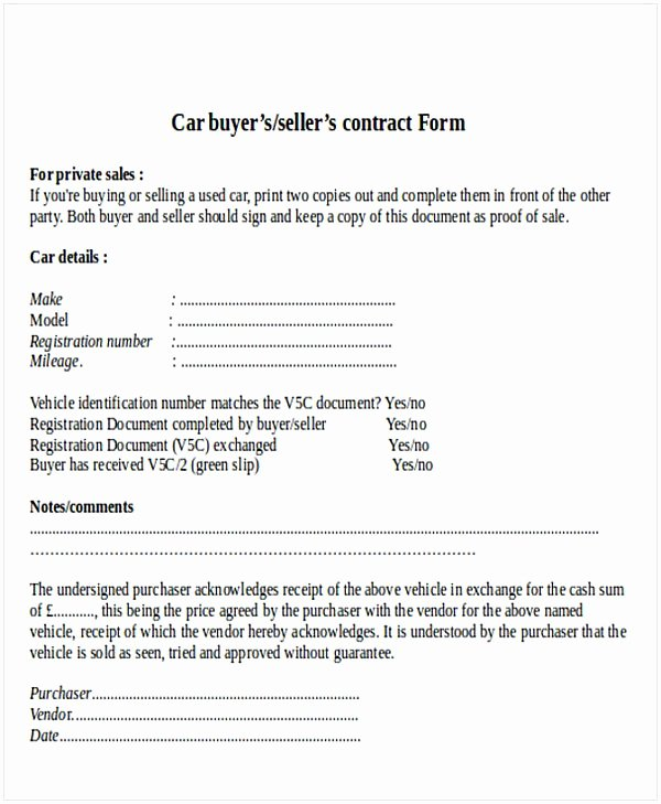 Contract for Selling A Car Lovely Used Car Sell Contract