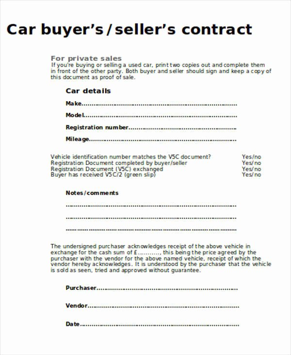 Contract for Selling A Car Luxury Sample Car Sales Contract 12 Examples In Word Pdf