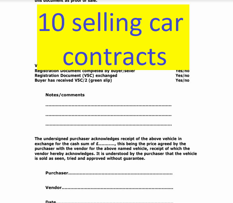 Contract for Selling A Car New 10 Selling Car Contract Exemples Doc and Pdf format