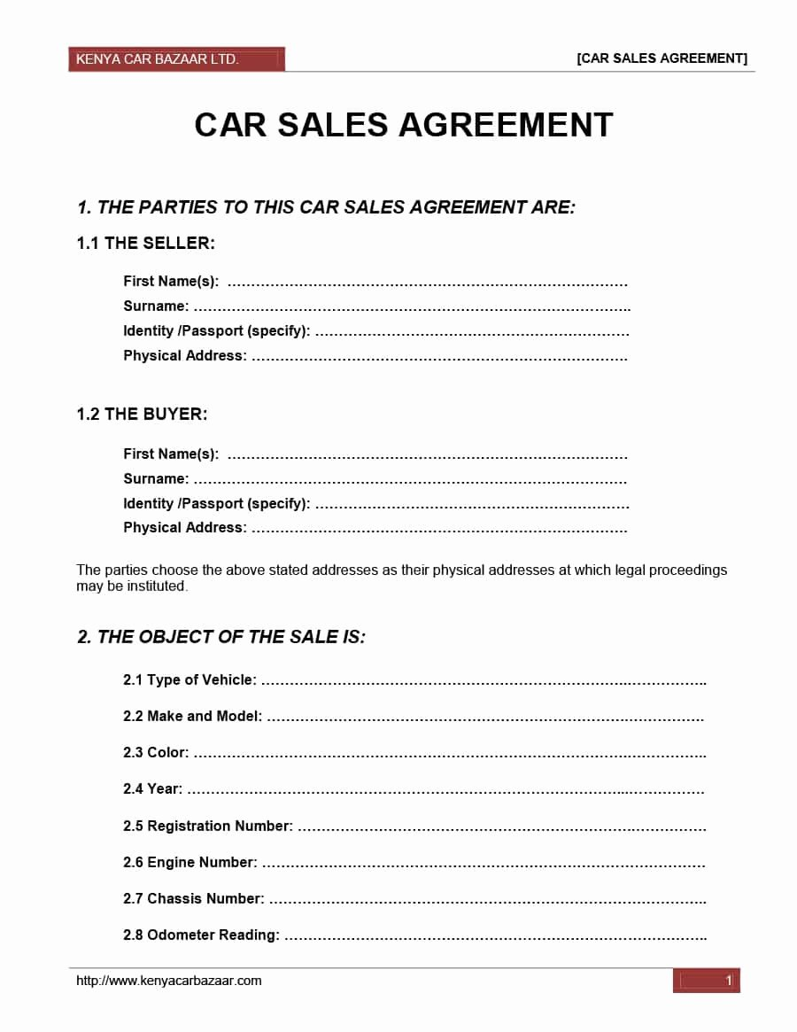 Contract for Selling A Car Unique 42 Printable Vehicle Purchase Agreement Templates