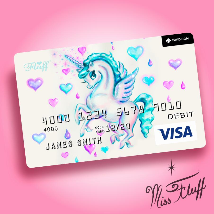 Cool Debit Card Designs Unique Unicorn Pegasus Super Cute Visa Debit Card original Art