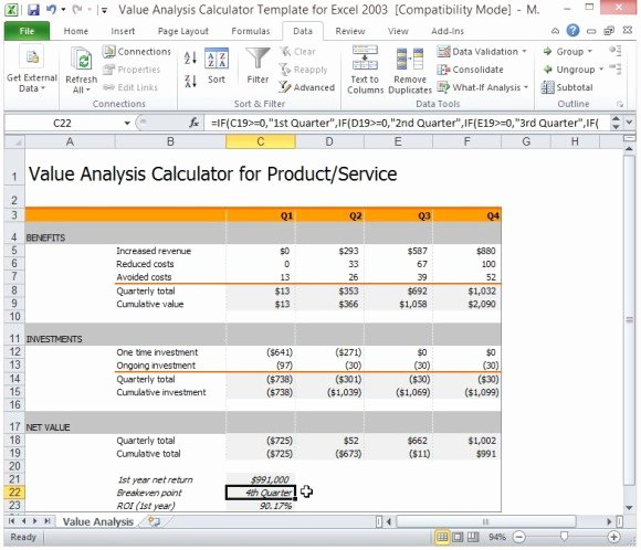 Cost Benefit Analysis Template Excel Unique 26 Of Free Cost Savings Presentation Template In