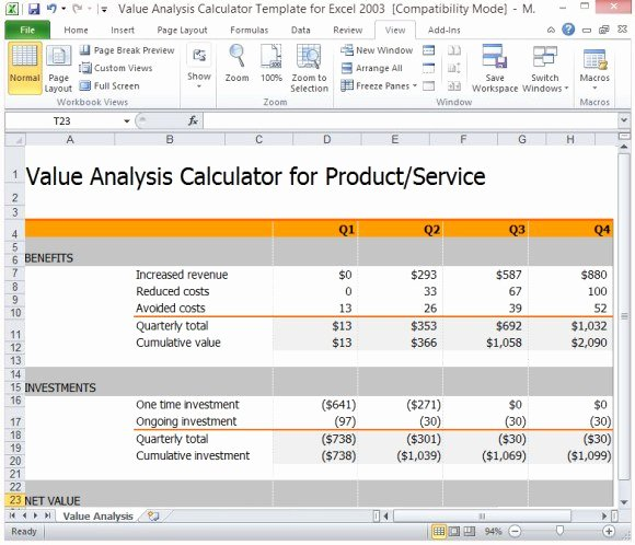 Cost Benefit Analysis Template Excel Unique Value Analysis Calculator Template for Excel