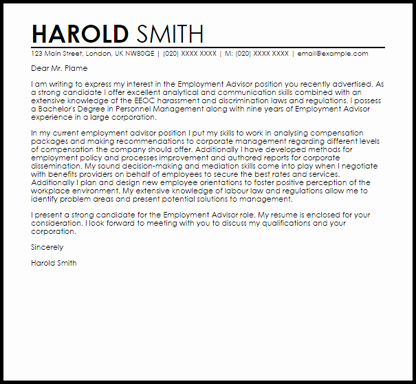 Cover Letter for Employment Beautiful Employment Advisor Cover Letter Sample